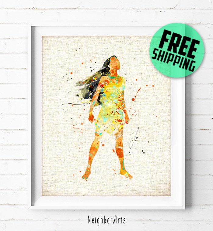 Disney princesse pocahontas poster peinture etsy - Peinture princesse disney ...