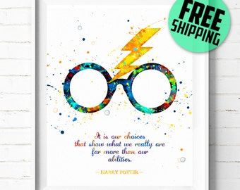 Harry Potter print, Harry Potter Quote print, Harry Potter watercolor art, Harry Potter poster, Harry Potter wall art, [479] office decor