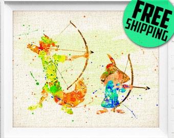 Disney, Robin Hood & Little John, Poster, Watercolor Painting, Wall Art Print, Baby Gift, Nursery Decor, Kids Decor, Home Decor, 174