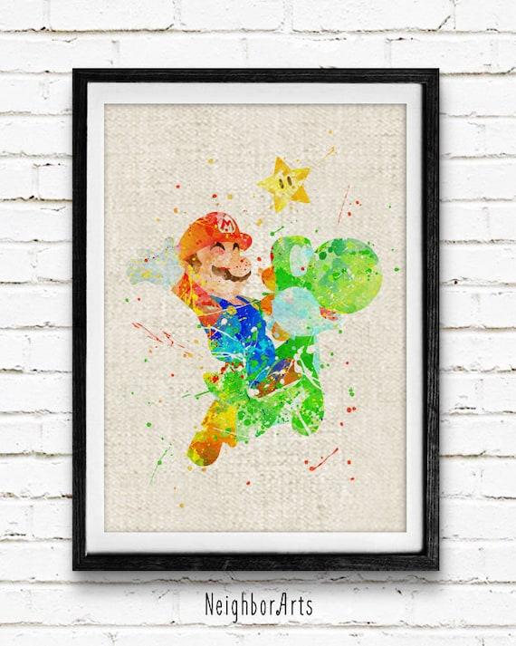Lámina libre envío Super Mario Yoshi cartel acuarela   Etsy