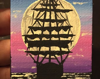 Pirate Ship in the Moonlight Full Size Painting