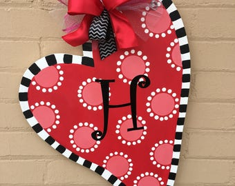 Valentine Door Hanger Valentine Door Decor Front Door Decor Door Hanger Monogrammed Heart Door Hanger Heart Door Hanger