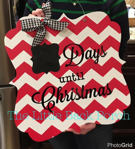 How Many Days Left Until Christmas.Christmas Countdown Door Hanger Days Until Christmas Christmas Door Hanger Chevron Christmas Countdown Christmas Sign