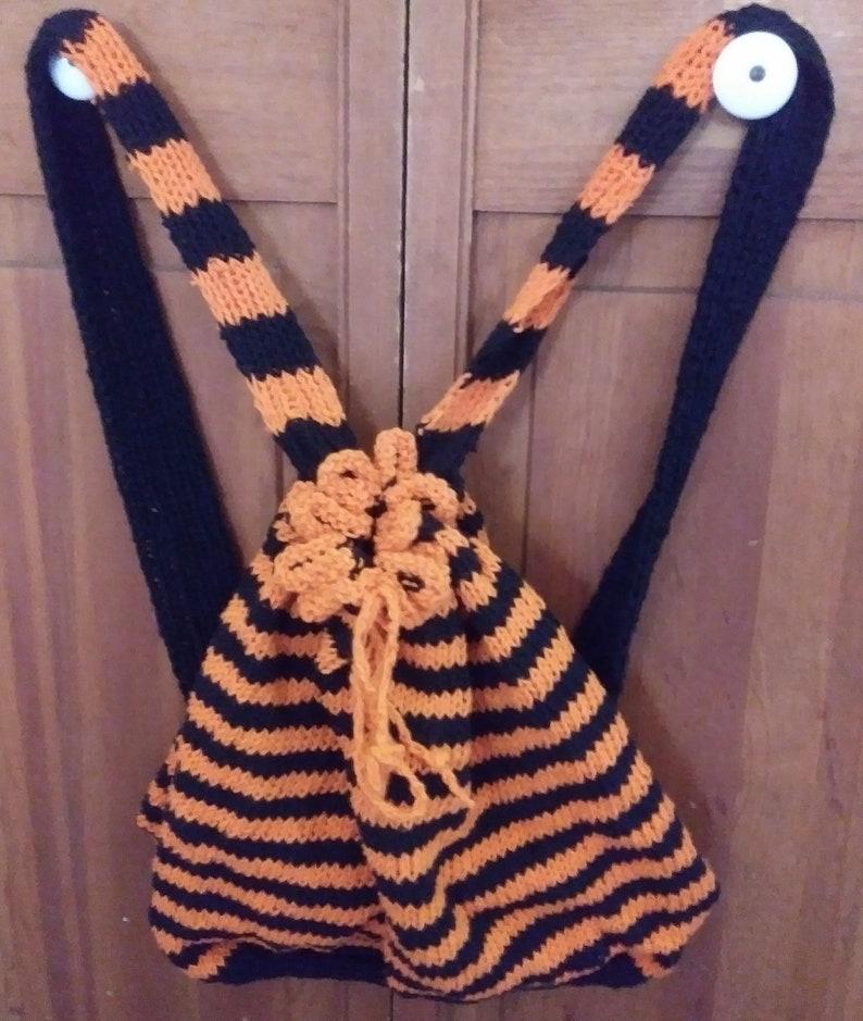 Backpack light stripe black orange cotton