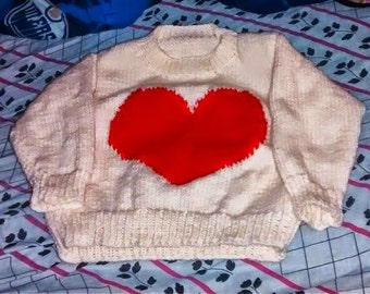 sweater 4-6 x for girl frame heart to