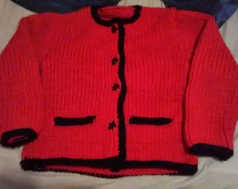 jacket Austrian Red Black tightest borders pockets for girl