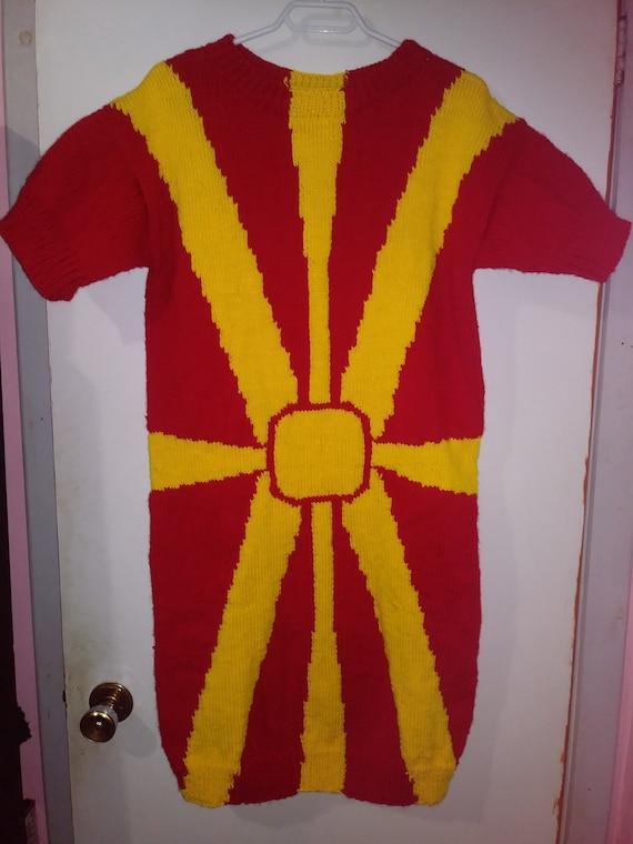 Yellow yellow flag macedoine dress short sleeves for medium-wide women