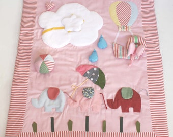 Playmat, activity playmat, baby busy blanket, play mat. Sensory functions, touch, hear, discover. With a teether! Hot air balloon,elephants