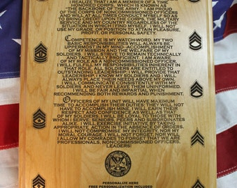 Personalized US Army NCO Creed Plaque, solid wood 10.5 x 13 inches, 3 lines of text, custom promotion gift
