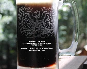 Personalized US Army Warrant Officer Rising Eagle Beer Mug, Custom Gift, 27oz