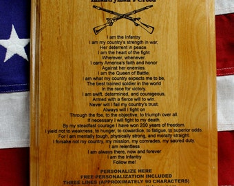 Personalized US ARMY Infantryman's Creed Plaque, infantry crossed rifles gift, Custom Engraved Gift, Military Graduation Present