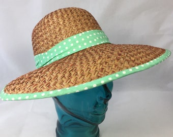 30a1b467b19 Women Handwoven Sun Visor Hat in tan Pandan with Mint polka dot Band