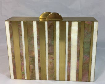 New Handmade  Stripe Inlaid Minaudière in Gold White and Brown Mother of Pearl