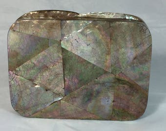 New Handmade Brown Mother of Pearl  Mini Minaudière Clutch