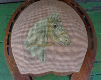 Antique Victorian Needlepoint Horse Footstool