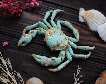 Mixed Metal Artisan Made Vintage Crab Brooch Faux Pearls Vintage Detailed Figural