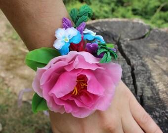 Flowers bracelet, cold porcelain jewelry, bridal jewelry, wedding jewelry, peony jewelry, wedding Buttonhole, floral Barrette