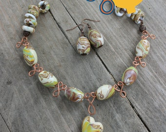 Polymer clay and copper wire jewelry set - necklace and earrings