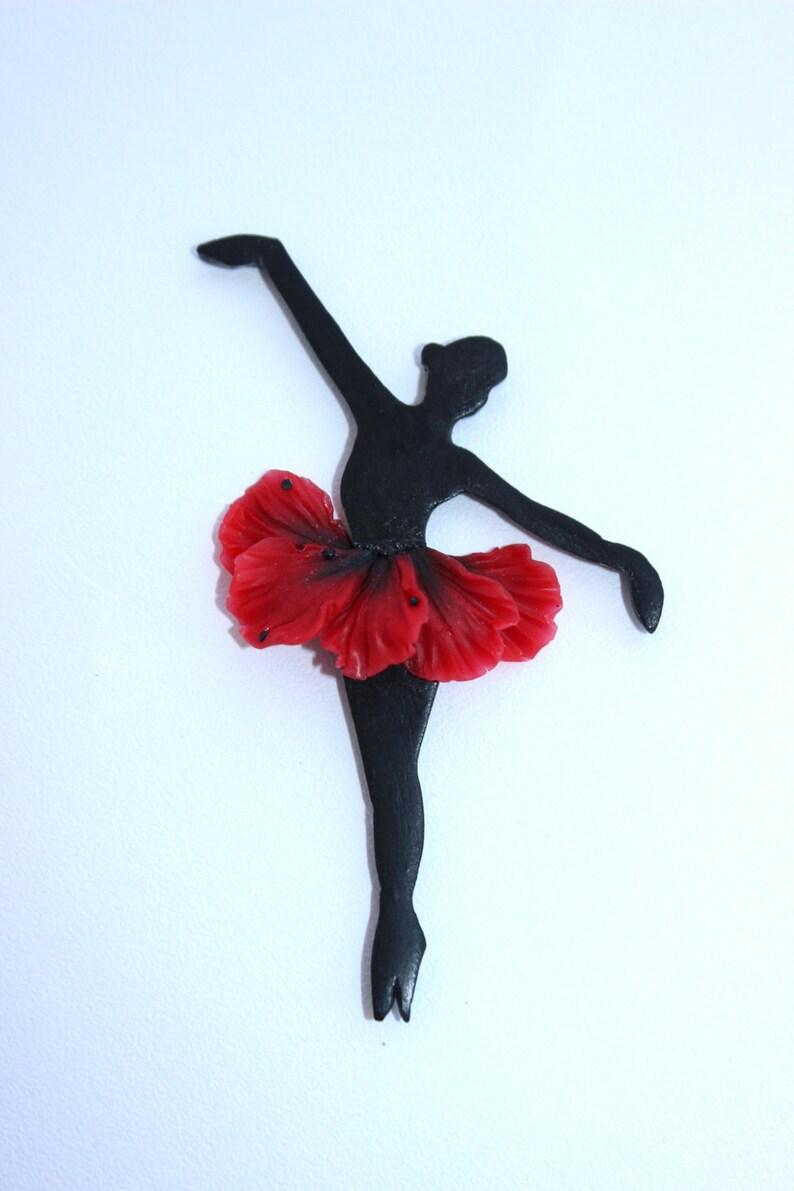 Valentine/'s Day Gift Ballerina brooch flower Poppy brooch Red jewelry Little brooch made of polymer clay