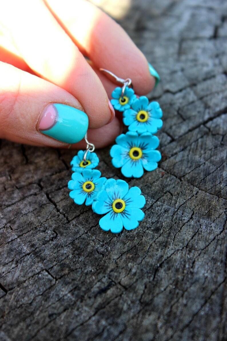 d64351ac4 Forget-me-not jewelry little flowers earrings 925 silver | Etsy