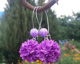 Ball Earrings - Floral Earrings - Lilac Earrings - Gift for her - Little Flowers Earring - Cold porcelain Earrings