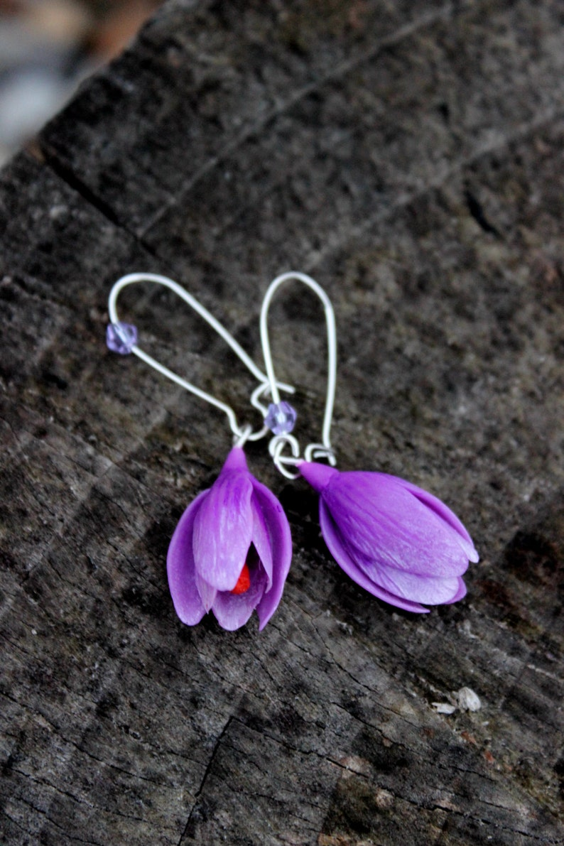 Silver 925 Crocuses earrings  choose the color of the flowers image 0