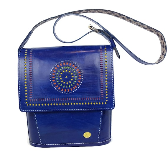 Handtooled leather Messenger bag women Genuine leather Blue  2e2f25614f