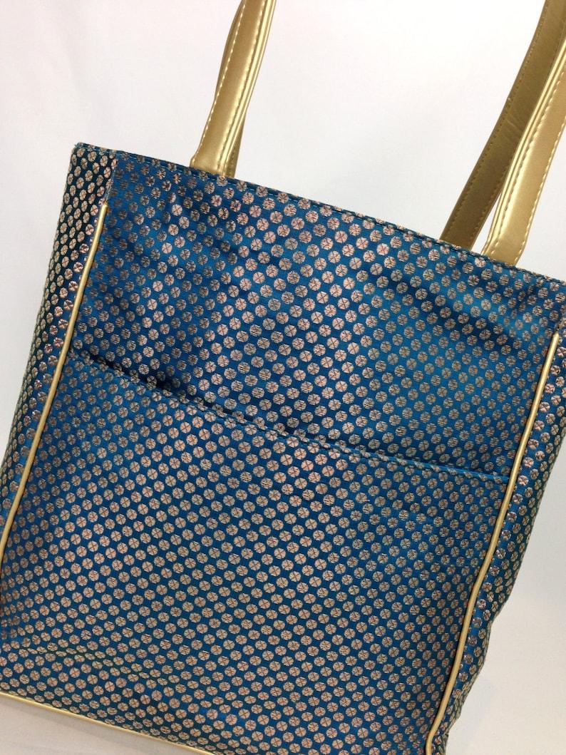 Vegan hand beaded Boho bag large by Tarini Avant garde fashion Luxury Tote Bespoke designer shoulder bag Aqua Blue Womens Tote blue
