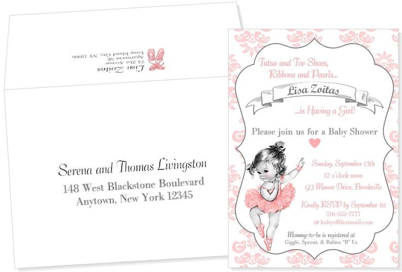Ballet Themed Baby Shower Invitation