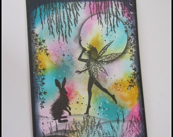 Fairy card, Fairy and hare card, Rainbow fairy card, Frameable fairy picture