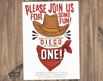 Cowboy Birthday Party Invitation ANY AGE Hat And Scarf Western Theme Wild West Age Printable