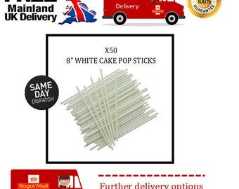 "50 x 8"" white cake pop sticks"