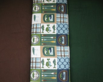 Flannel Fabric By the Yard Chocolate Brown, River Fishing Canoe Patch, Hunter Green Solid for Rag Quilts, Nursery, Pillowcases, PJ, Blankets