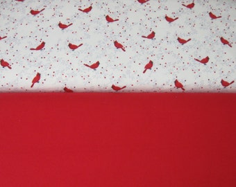 Red Cardinals On Cream or Solid Red Blender Flannel Fabric By the Yard for Rag Quilts, Blankets, Burp Cloths, Pillowcases Novelty, Birds BTY