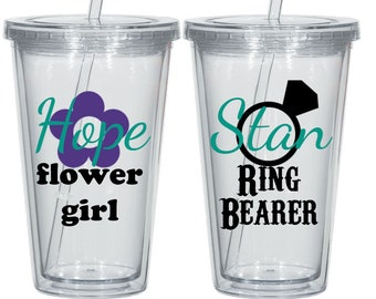 Pair of of Ring Bearer and Flower Girl Acrylic Tumblers, Jr. Groomsman, Jr. Bridesmaid, Bridal Party, Groomsmen