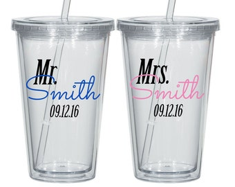 Pair of Personalized Mr and Mrs Acrylic Tumblers, Wedding gift for the couple, bridal shower gift idea, toating glasses
