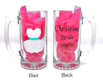 Personalized bridesmaid wedding beer mug - beer mug with dress, name, and role - bridal party gift ideas