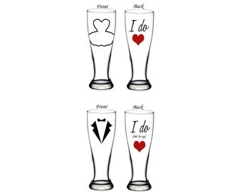 I do,  I do what she says - bride and groom pilsner glass pair -wedding gift - double sided - personalized wedding glasses - engagement gift