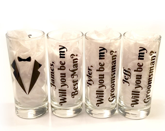 Single Glass - Will you be my groomsman - Will you be my best man - Personalized shot glasses with names - Groomsman proposal