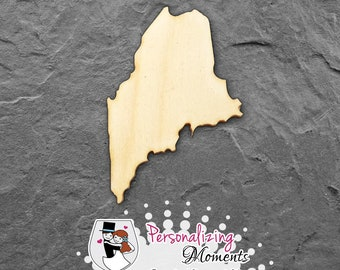 Maine - Unfinished Laser Cut Shape, DIY Craft Supplies, Woodworking, Kids Crafts, Blanks, Many Sizes - FREE SHIPPING