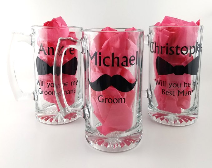 Groomsman and Best Man proposal glasses - personalized beer mug with name - Manly beer stein - Will you be my groomsman / Best man ?