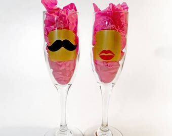 Personalized funny wedding glasses, Bride and groom champagne glasses, TOASTing glasses, champagne flutes, his and hers