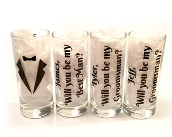 Set of six Will you be my groomsman - Will you be my best man - Personalized shot glasses with names - Groomsman proposal - FREE SHIPPING