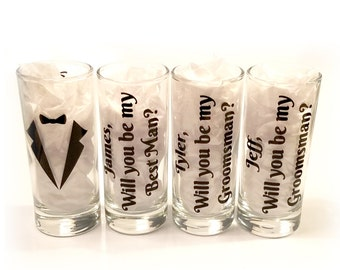 Set of 9 glasses - Will you be my groomsman - Will you be my best man - Personalized shot glasses with names - Groomsman - FREE SHIPPING