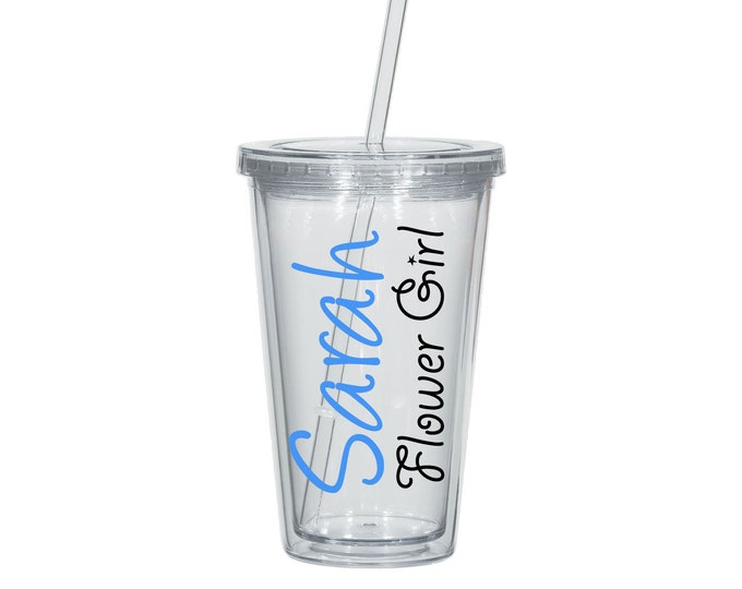 1 Flower Girl Tumbler, Personalized Flower Girl Tumber, Acrylic Tumber, Bridal Party, Jr. Bridesmaid, Flower Girl Cup - FREE SHIPPING