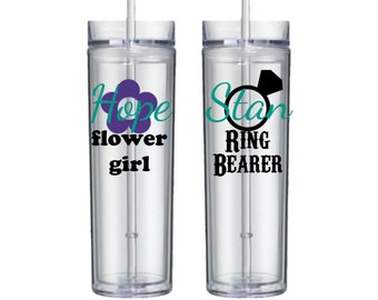 Personalized Acrylic Tumbler for the Flower Girl and Ring Bearer - 16oz Double Walled Tumbler - Perfect for summer weddings - BPA FREE