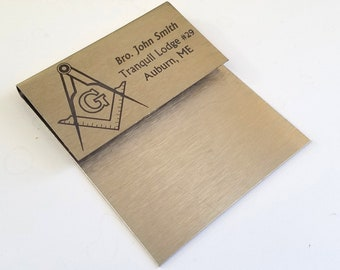 Custom Stainless Steel Masonic Pocket Fold Name Tag - Polished Stainless Badge, Square and Compasses, Name, and Lodge