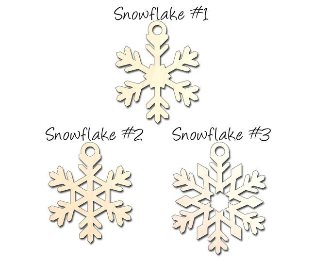 Christmas Ornament Blanks - Laser Cut Snowflake - Craft Materials - 3 Pack - 1/8 inch Baltic Birch Ply - Kids Crafts - Holiday Decorations