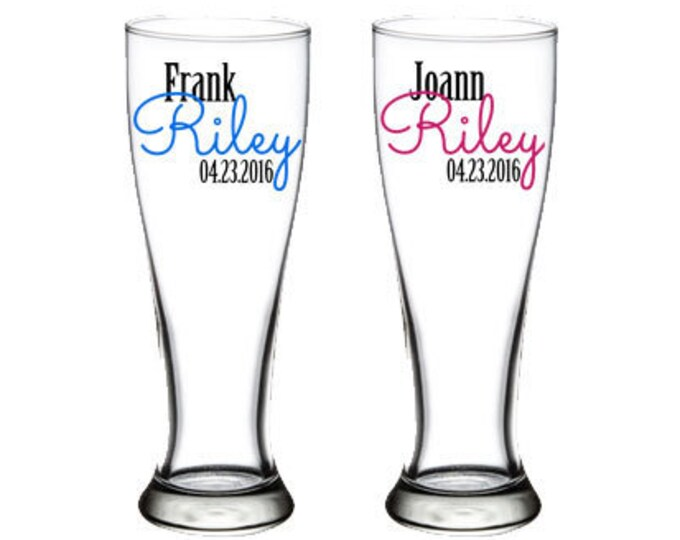 Set of 2 Personalized pilsner glasses - 23 oz - bride and groom, wedding toast, bridal shower gift ideas, Names and Date - FREE SHIPPING