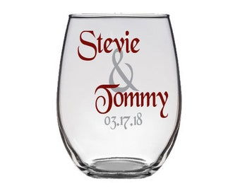 Personalized Name & Date Stemless Wedding Glass -Bride or Groom Toasting Glass - Weddings, Bachelor, Bridal, Champagne, Wine